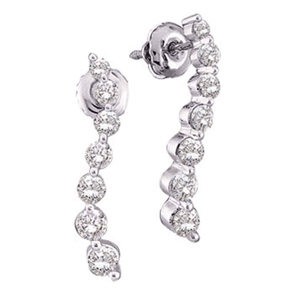 14kt White Gold Womens Round Diamond Journey Earrings 1/4 Cttw