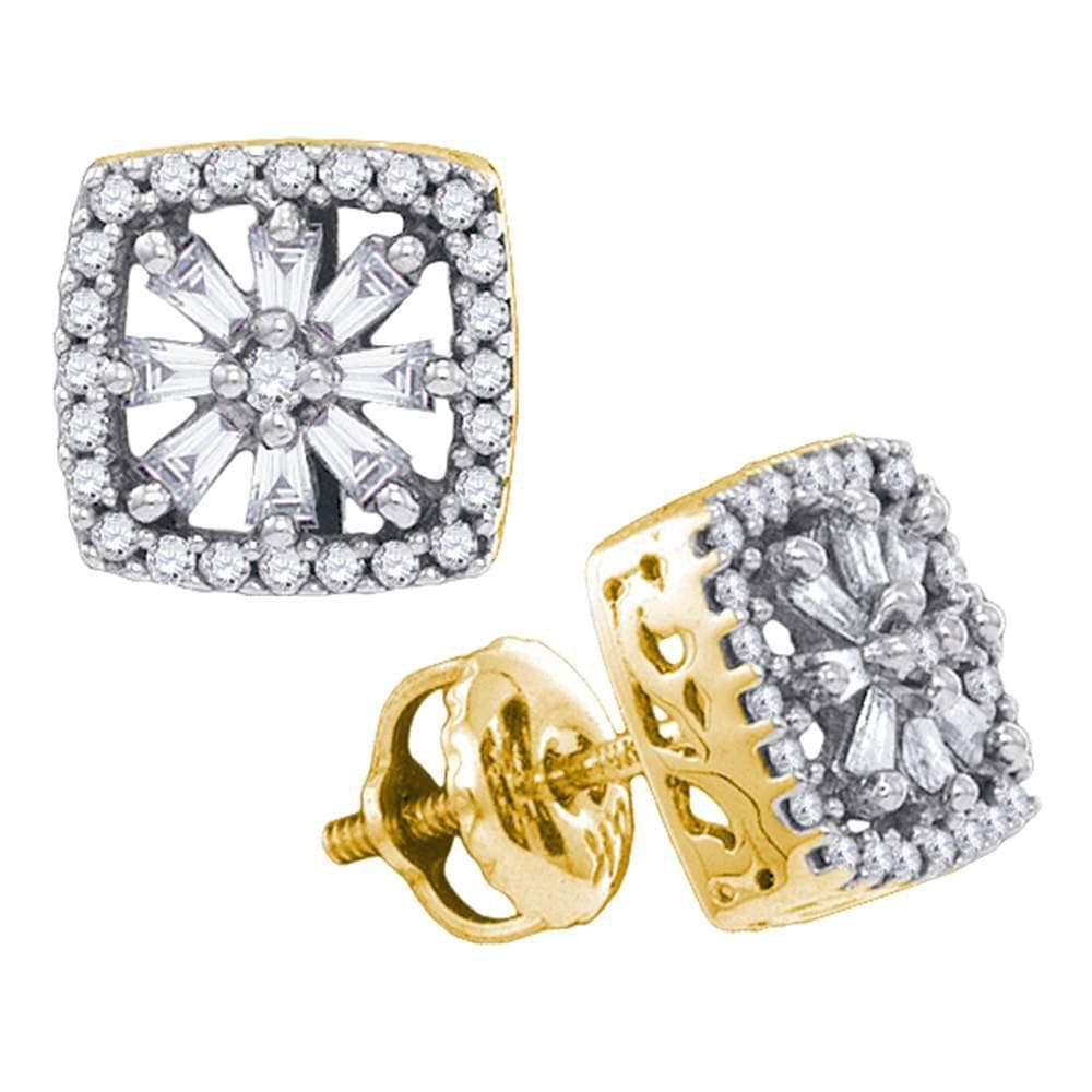 14kt Yellow Gold Womens Baguette Round Diamond Square Stud Earrings 1/3 Cttw