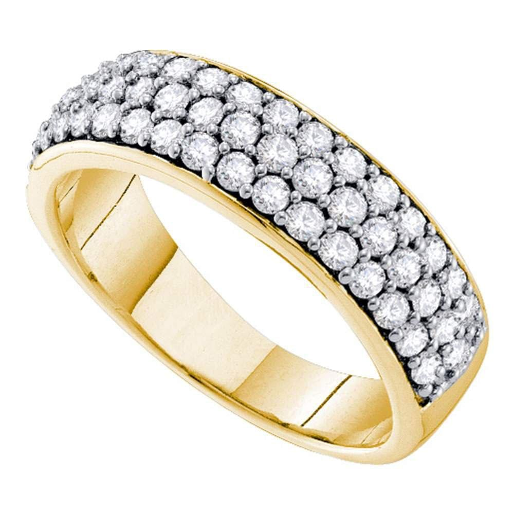 10kt Yellow Gold Womens Round Pave-set Diamond Triple Row Wedding Band 1 Cttw