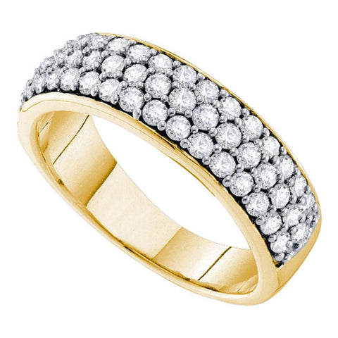 10kt Yellow Gold Womens Round Pave-set Diamond Triple Row Wedding Band 1.00 Cttw