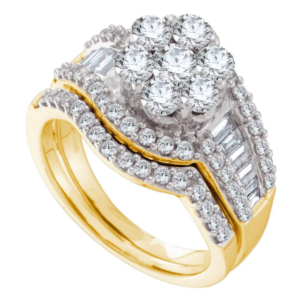 14kt Yellow Gold Womens Round Diamond Cluster Bridal Wedding Engagement Ring Band Set 2.00 Cttw