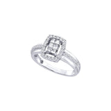 14kt White Gold Womens Princess Diamond Rectangle Frame Cluster Ring 1/2 Cttw