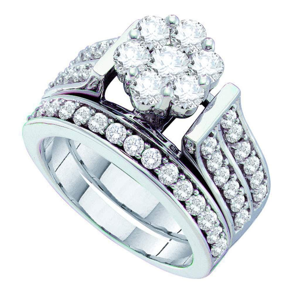 14kt White Gold Womens Round Diamond Flower Cluster Bridal Wedding Engagement Ring Band Set 2.00 Cttw
