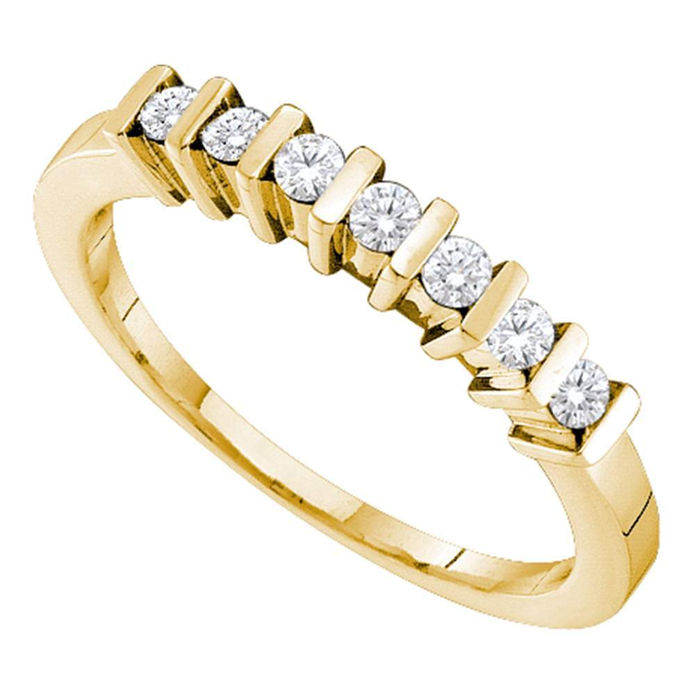 10kt Yellow Gold Womens Round Channel-set Diamond Single Row Band 1/6 Cttw