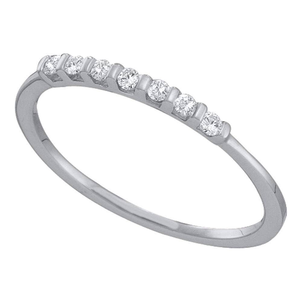 10kt White Gold Womens Round Diamond Single Row Band Ring 1/10 Cttw