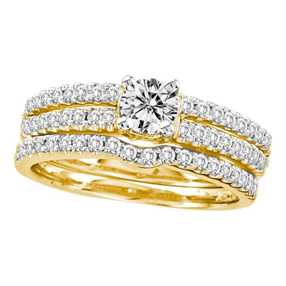 14kt Yellow Gold Womens Round Diamond 3-Piece Bridal Wedding Engagement Ring Band Set 1.00 Cttw