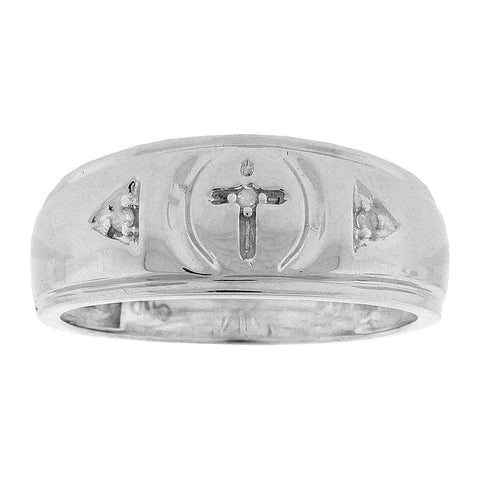 Sterling Silver Mens Round Diamond Cross Wedding Band Ring 1/20 Cttw