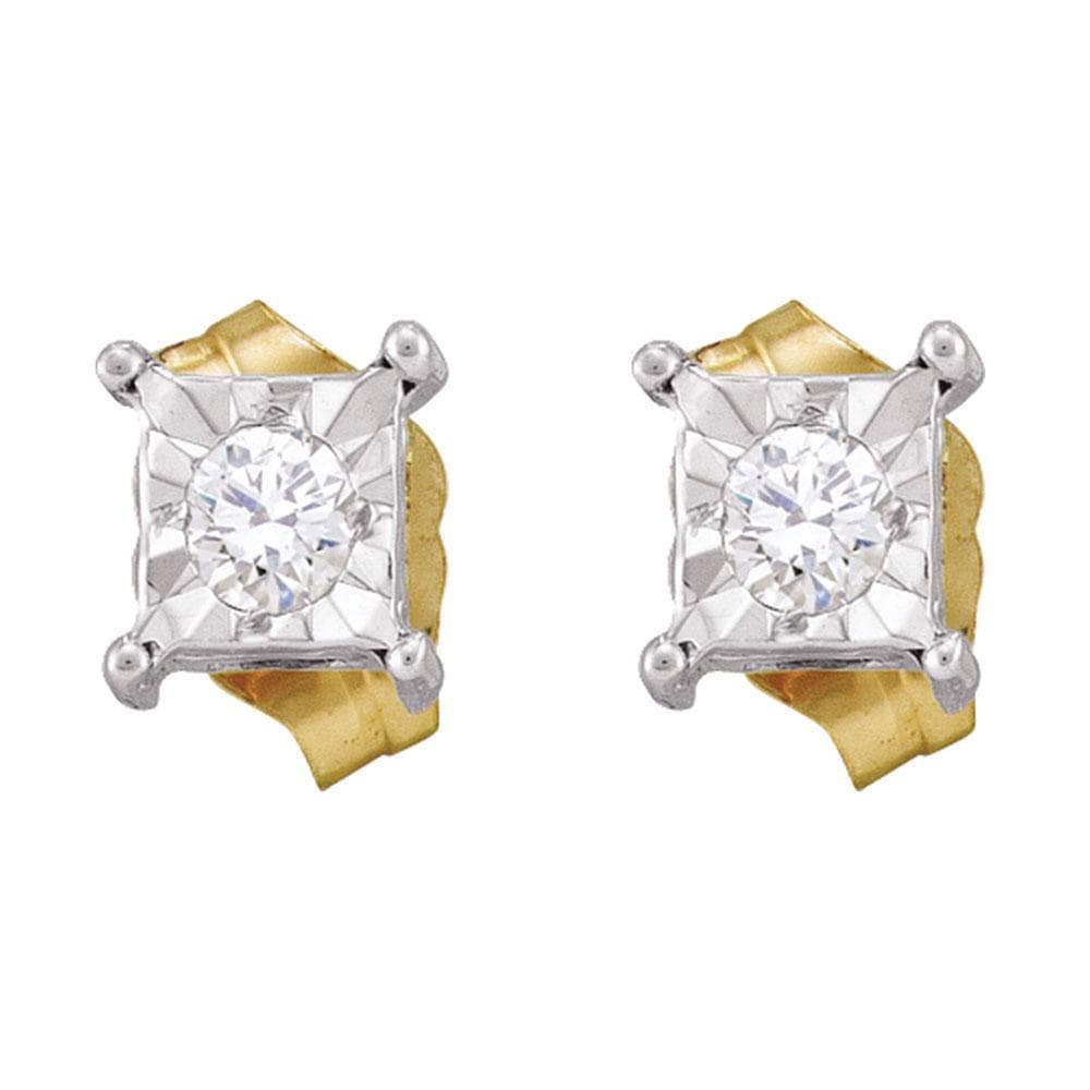 10kt Yellow Gold Womens Round Diamond Square-shape Stud Earrings 1/8 Cttw