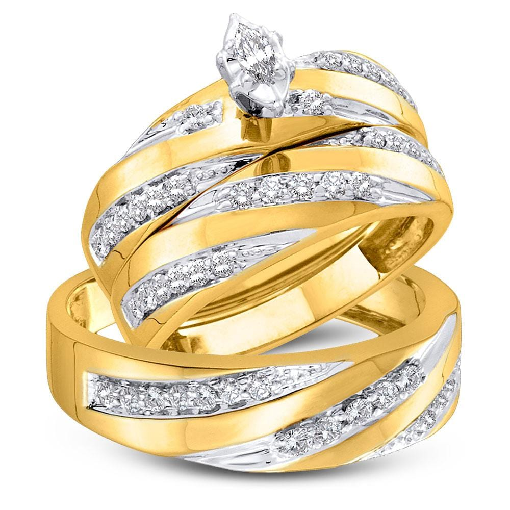 10kt Yellow Gold His Hers Marquise Diamond Solitaire Matching Wedding Set 3/4 Cttw