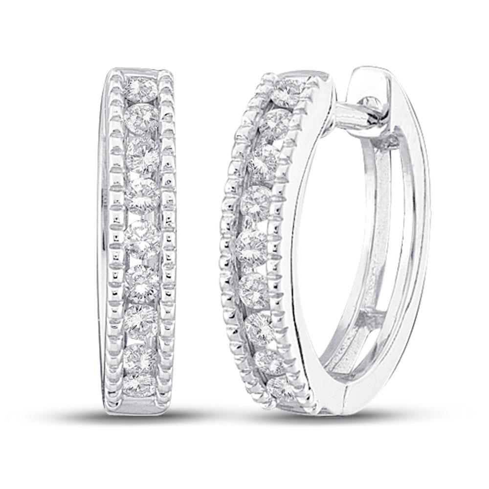 10kt White Gold Womens Round Diamond Milgrain Hoop Earrings 1/4 Cttw