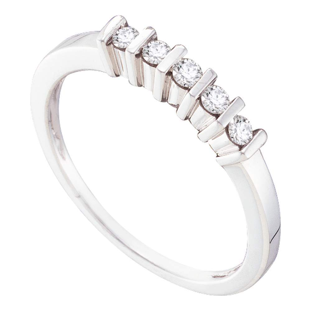 10kt White Gold Womens Round Channel-set Diamond 5-stone Band 1/8 Cttw