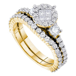 14kt Yellow Gold Womens Princess Round Diamond Soleil Bridal Wedding Engagement Ring Band Set 1-3/8 Cttw