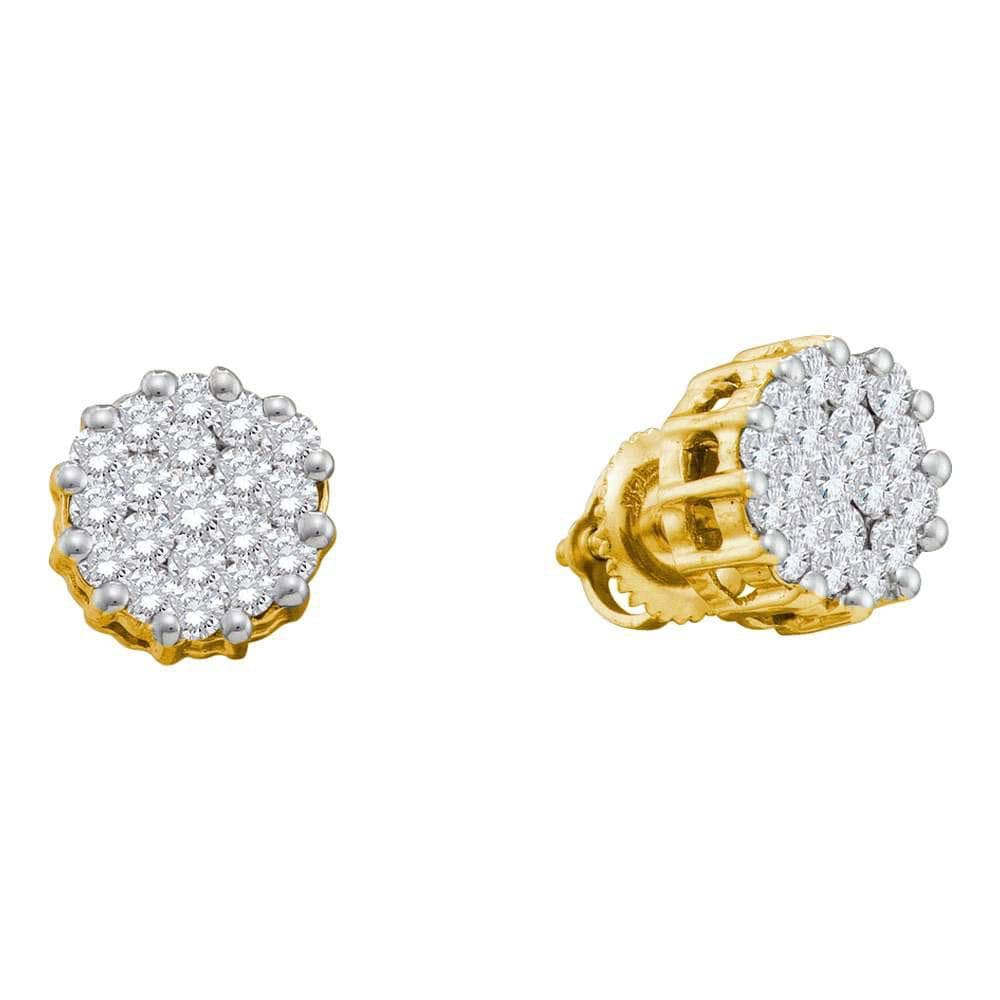 14kt Yellow Gold Womens Round Diamond Cluster Earrings 1.00 Cttw