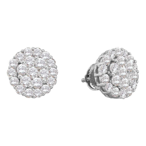 14kt White Gold Womens Round Diamond Cluster Screwback Stud Earrings 2.00 Cttw