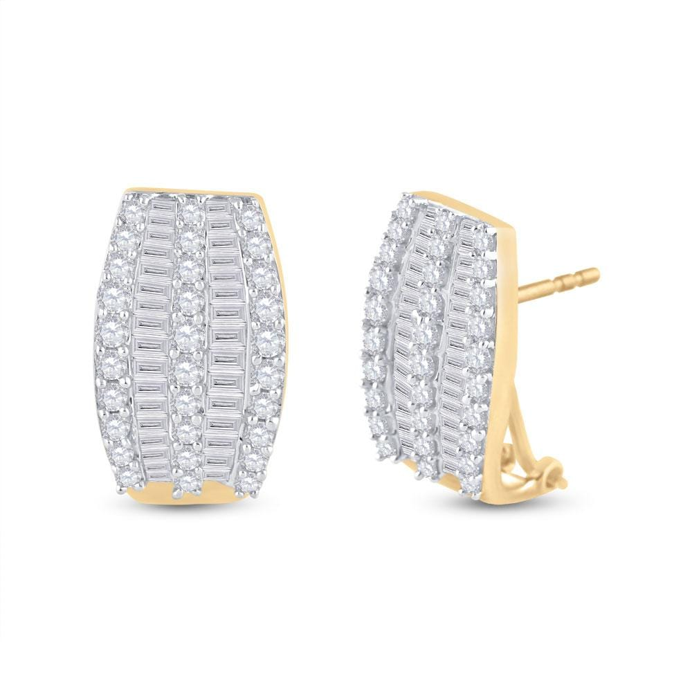 14kt Yellow Gold Womens Round Diamond French-Clip Hoop Earrings 1 Cttw