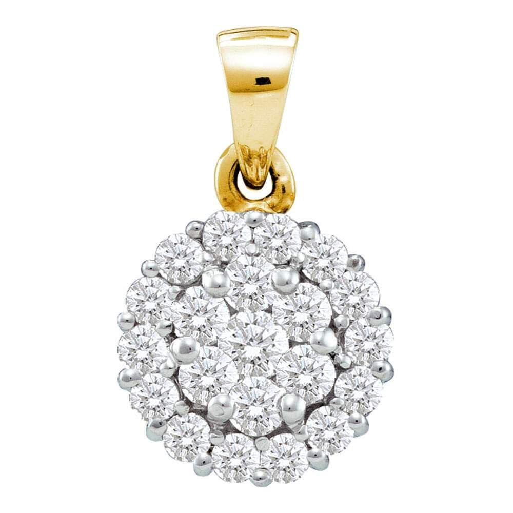 14kt Yellow Gold Womens Round Diamond Flower Cluster Pendant 7/8 Cttw