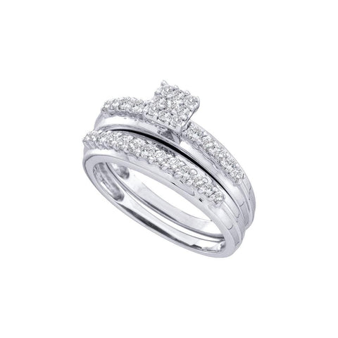 14k White Gold Womens Round Diamond Cluster Bridal Wedding Engagement Ring Band Set 1/2 Cttw