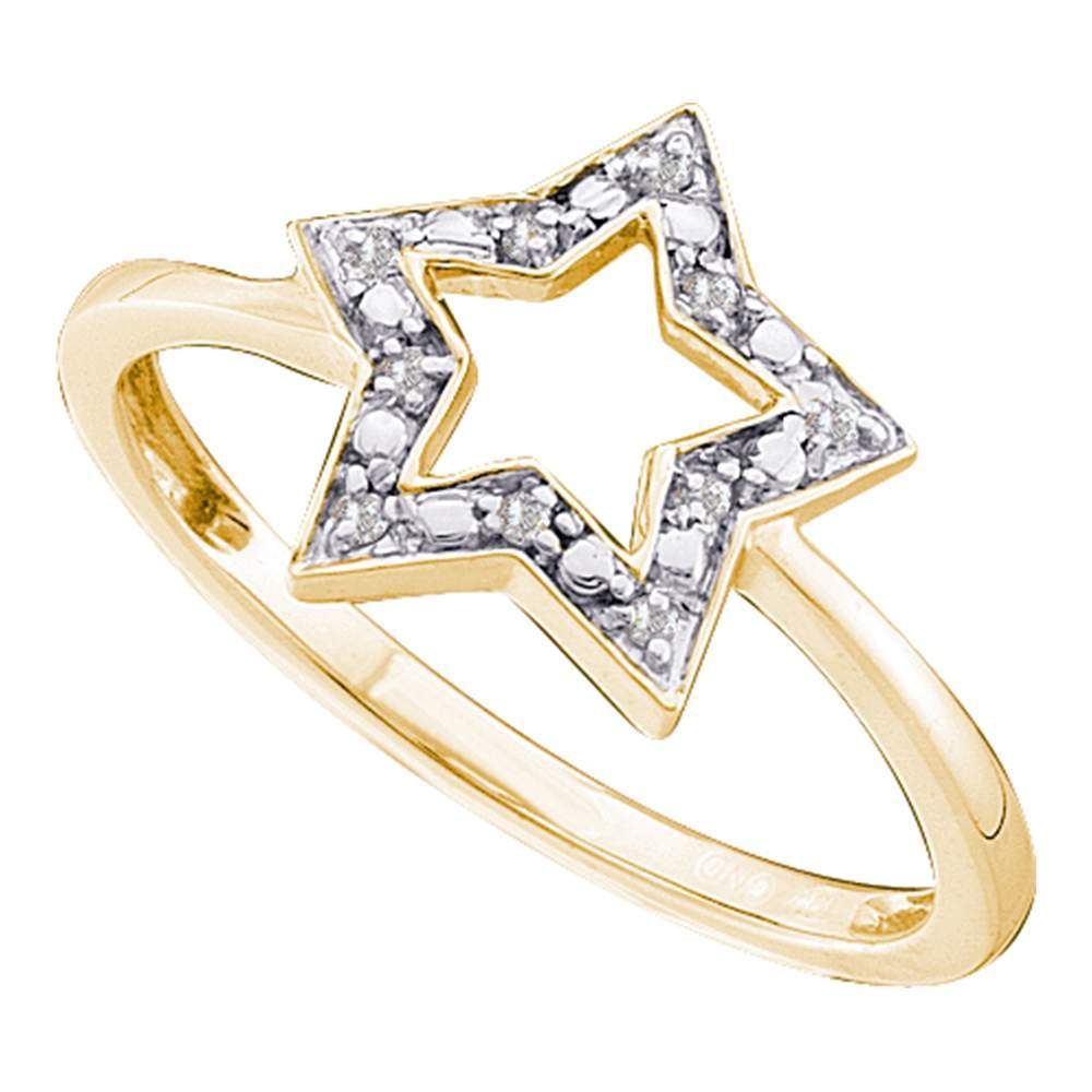 10kt Yellow Gold Womens Round Diamond Star Outline Cluster Ring .03 Cttw
