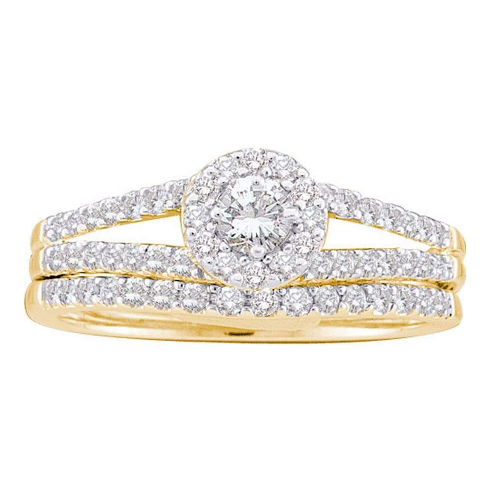 14kt Yellow Gold Round Diamond Split-Shank Bridal Wedding Ring Band Set 5/8 Cttw