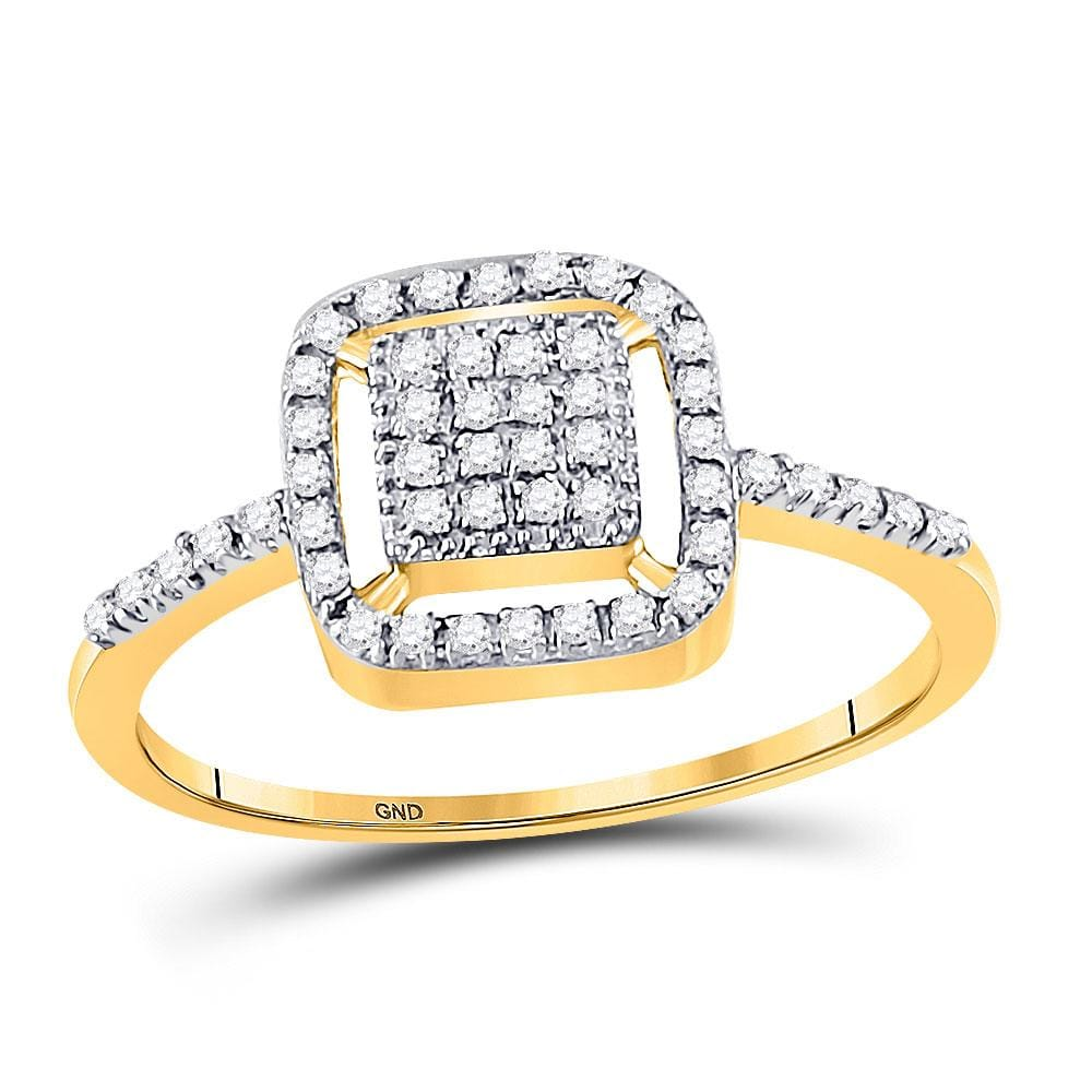 10kt Yellow Gold Womens Round Diamond Square Frame Cluster Slender Ring 1/6 Cttw