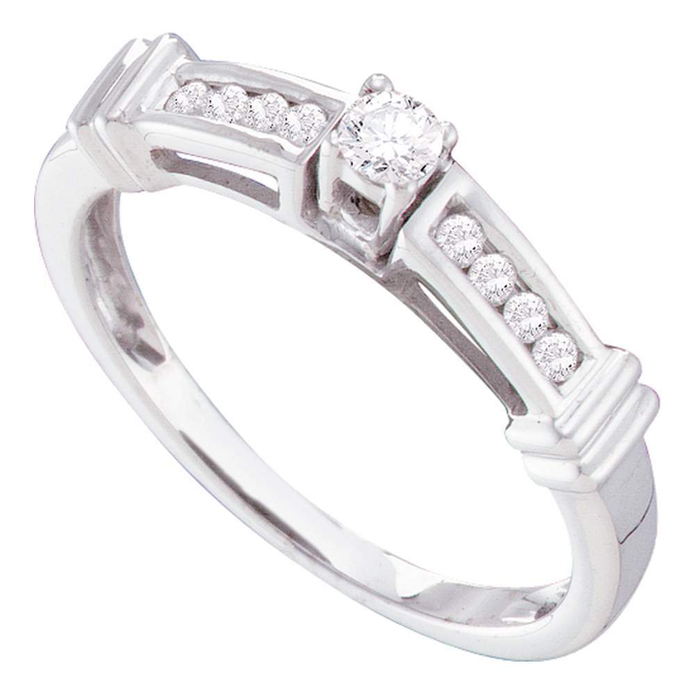 14kt White Gold Womens Round Diamond Solitaire Bridal Wedding Engagement Ring 1/4 Cttw