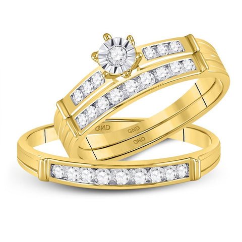 14kt Yellow Gold His & Hers Round Diamond Solitaire Matching Bridal Wedding Ring Band Set 1/2 Cttw