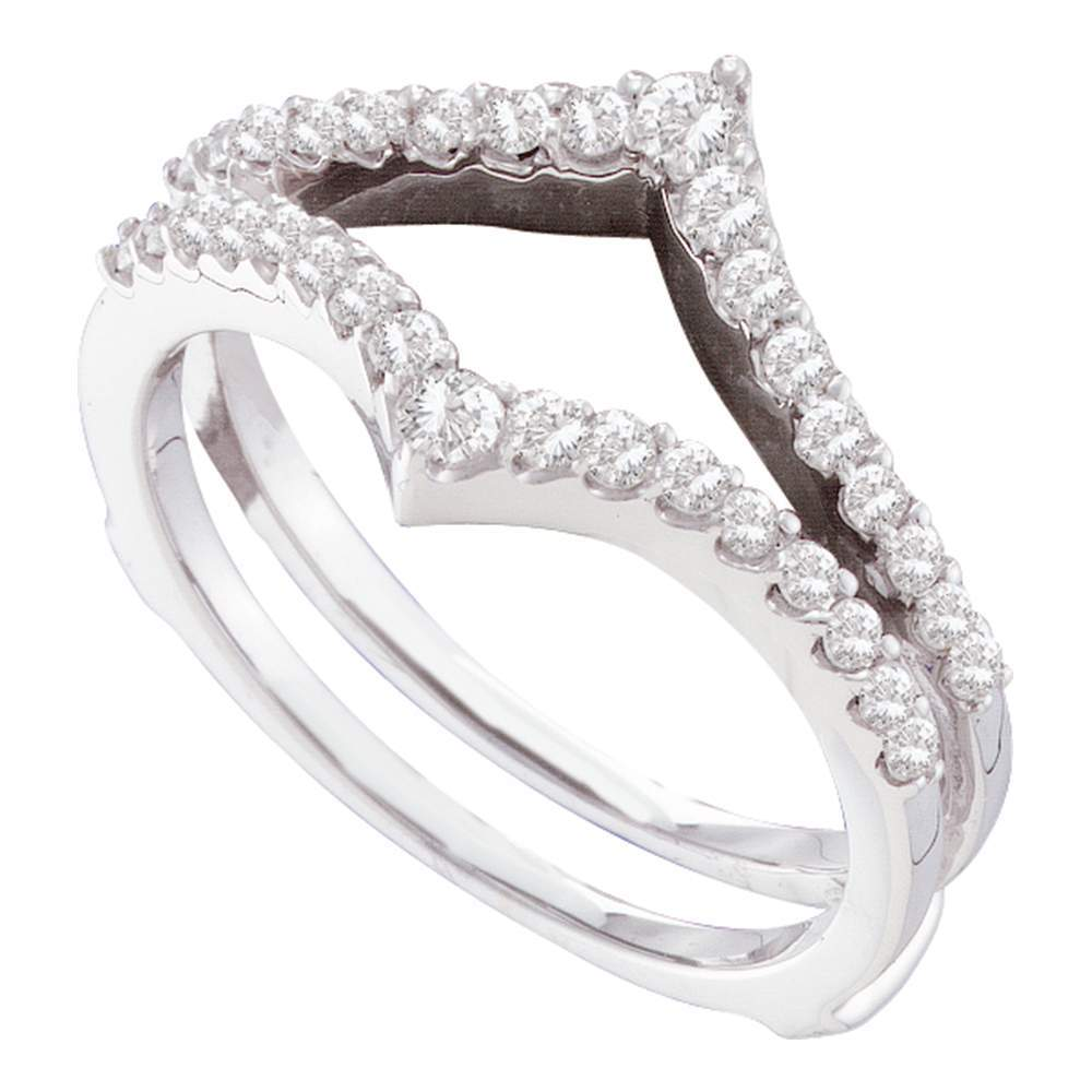 14kt White Gold Womens Round Diamond Ring Guard Wrap Enhancer Wedding Band 1/2 Cttw