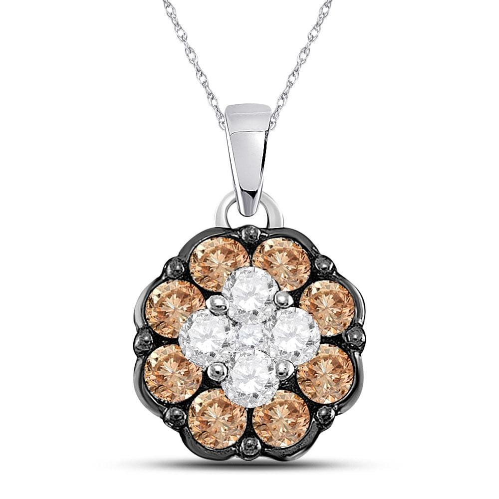 14kt White Gold Womens Round Cognac-brown Color Enhanced Diamond Cluster Pendant 1/2 Cttw