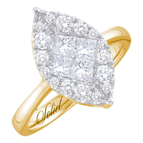 14kt Yellow Gold Womens Princess Round Diamond Soleil Marquise-shape Cluster Bridal Wedding Engagement Ring 1/2 Cttw