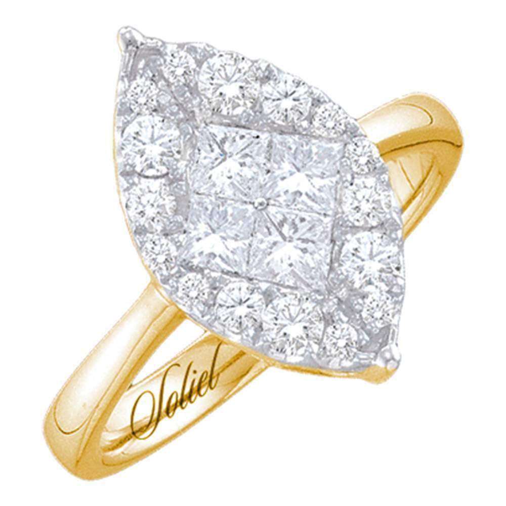 14kt Yellow Gold Womens Princess Diamond Soleil Cluster Bridal Wedding Engagement Ring 1/4 Cttw