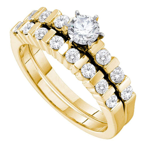 14kt Yellow Gold Womens Round Diamond Bridal Wedding Engagement Ring Band Set 3/8 Cttw