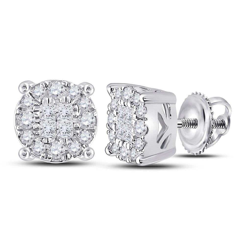 14kt White Gold Womens Princess Diamond Fashion Cluster Earrings 1/4 Cttw
