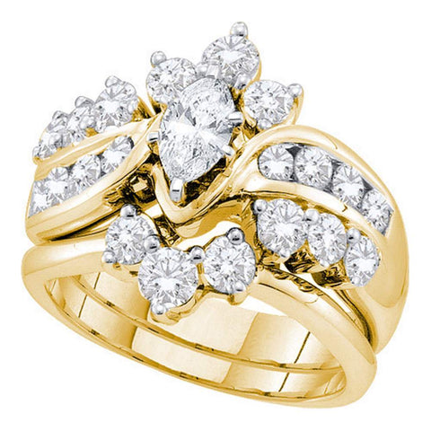14kt Yellow Gold Womens Marquise Diamond Bridal Wedding Engagement Ring Band Set 2.00 Cttw
