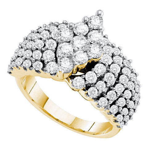 14kt Yellow Gold Womens Round Pave-set Diamond Oval-shape Cluster Ring 2.00 Cttw