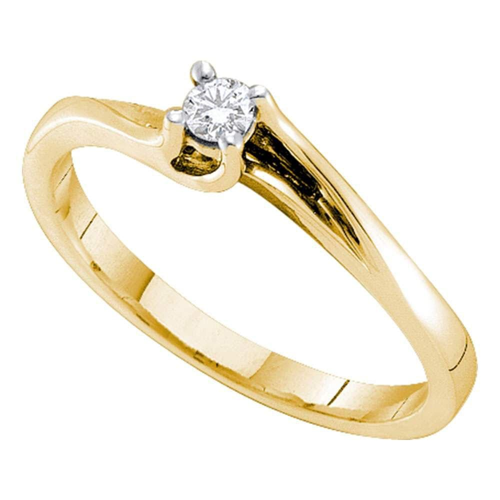 14kt Yellow Gold Womens Round Diamond Solitaire Promise Ring 1/10 Cttw