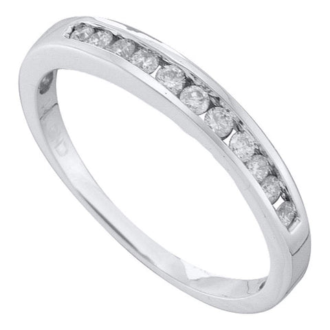 14kt White Gold Womens Round Diamond Single Row Fashion Band Ring 1/4 Cttw