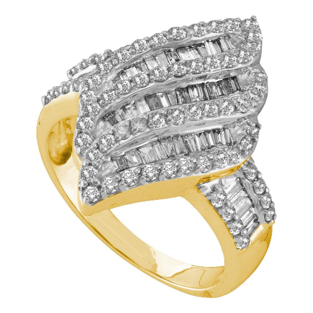 14kt Yellow Gold Womens Round Baguette Diamond Oval Stripe Cluster Ring 1.00 Cttw