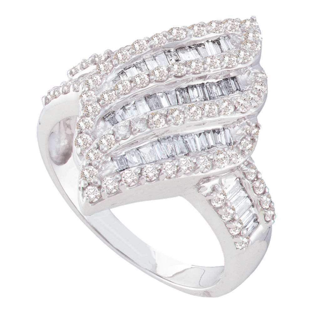 14kt White Gold Womens Round Baguette Diamond Oval Stripe Cluster Ring 1.00 Cttw