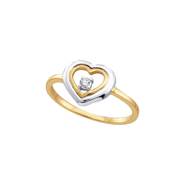10kt Two-tone Yellow Gold Womens Round Diamond Solitaire Heart Ring 1/20 Cttw