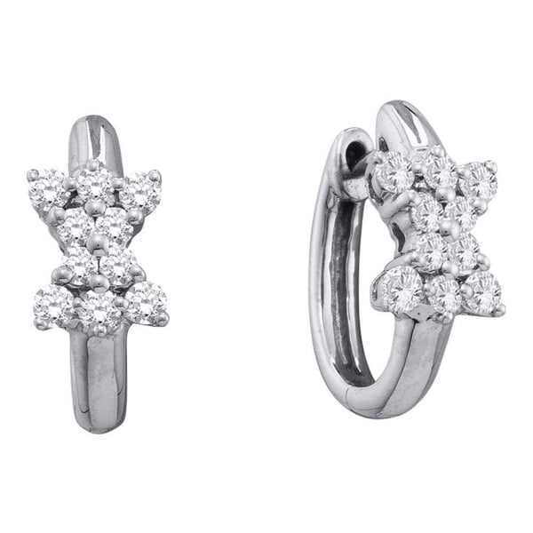 14kt White Gold Womens Round Diamond Cluster Huggie Earrings 1/2 Cttw