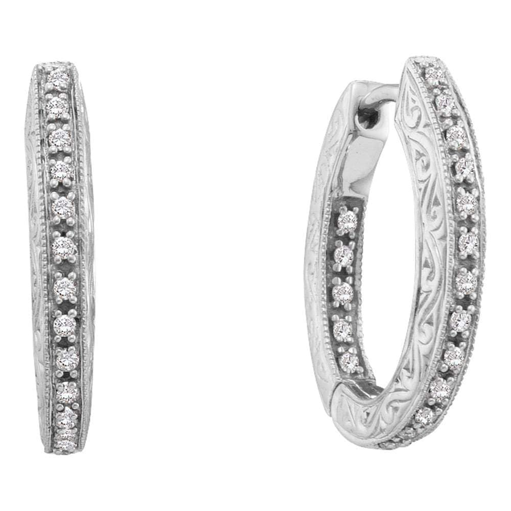 14kt White Gold Womens Round Diamond Inside Outside Filigree Hoop Earrings 1/4 Cttw