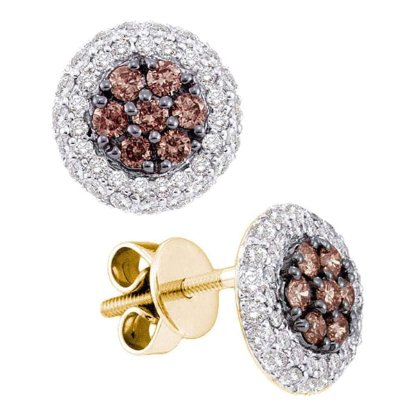 14k White Gold Cognac-brown Color Enhanced Diamond Framed Cluster Screwback Stud Earrings 3/4 Cttw