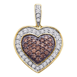 14kt Yellow Gold Womens Round Cognac-brown Color Enhanced Diamond Heart Love Pendant 1/2 Cttw