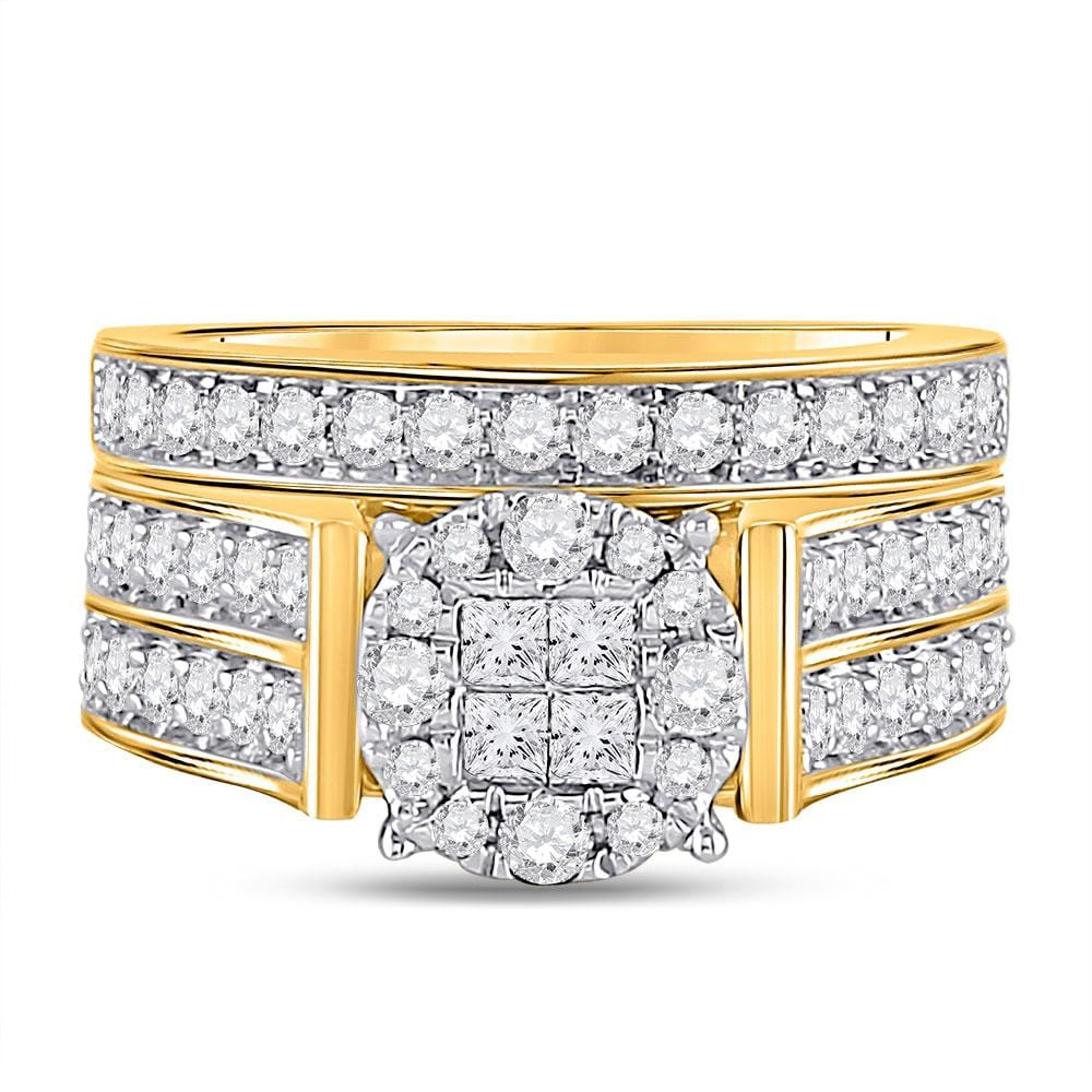 14kt Yellow Gold Princess Diamond Bridal Wedding Ring Band Set 1-1/3 Cttw