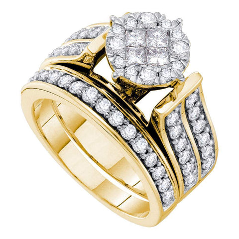 14kt Yellow Gold Womens Princess Diamond Soleil Bridal Wedding Engagement Ring Set 1-1/2 Cttw