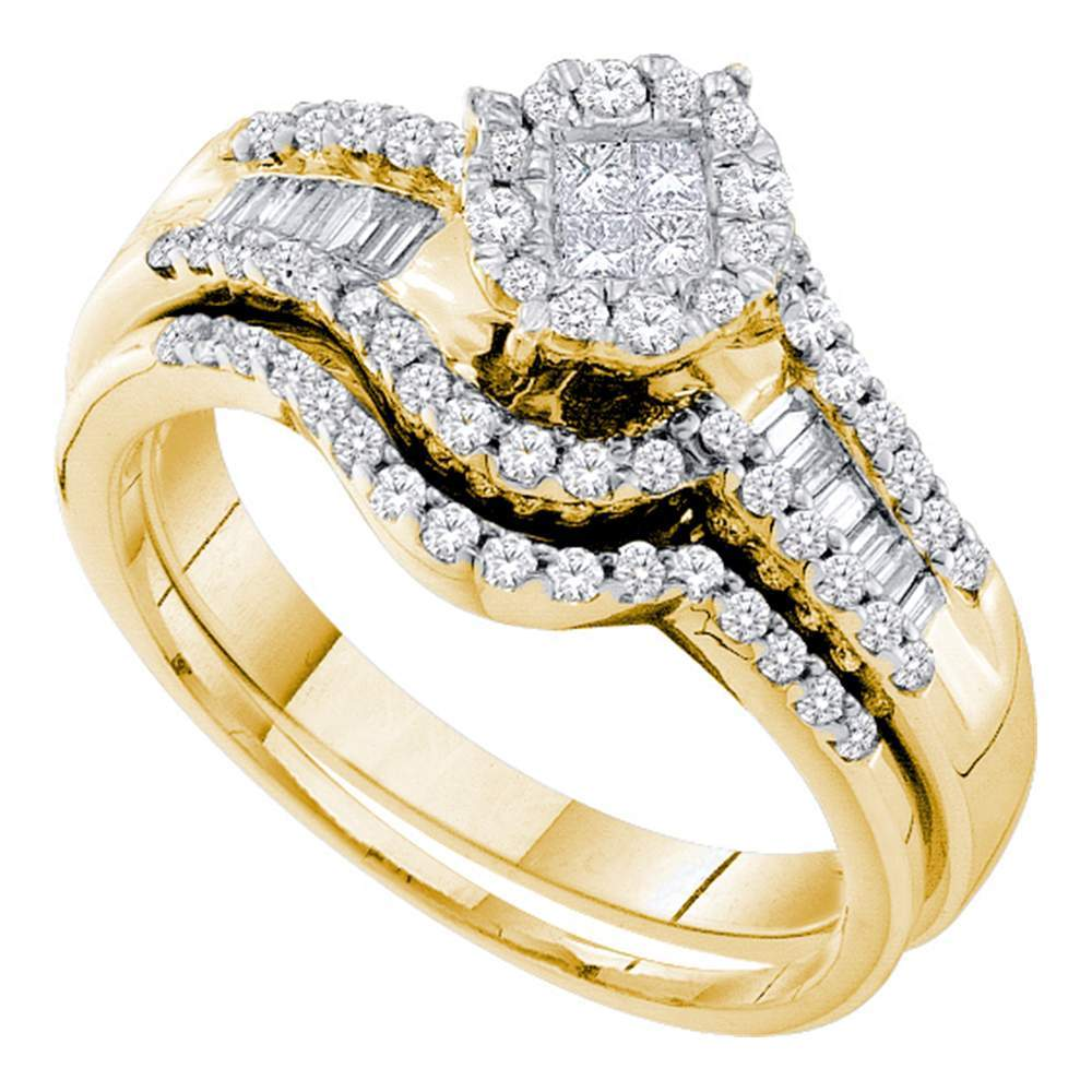 14kt Yellow Gold Womens Princess Round Diamond Soleil Bridal Wedding Engagement Ring Band Set 5/8 Cttw