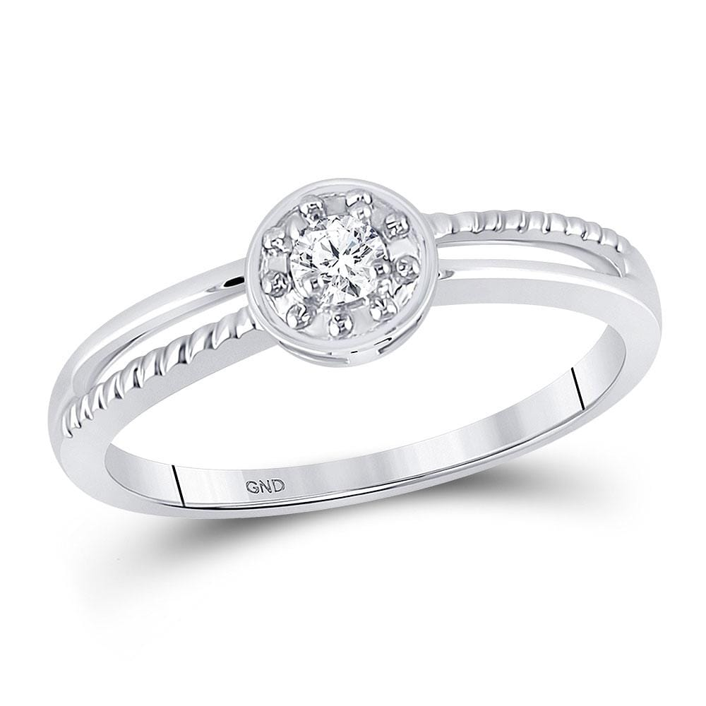 10kt White Gold Womens Round Diamond Solitaire Promise Ring 1/20 Cttw