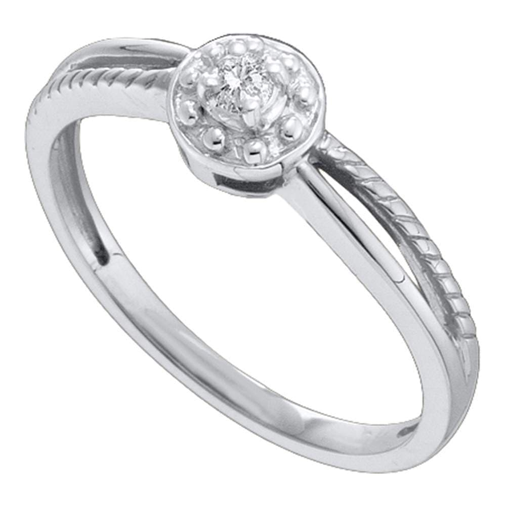 10kt White Gold Womens Round Diamond Solitaire Promise Bridal Ring 1/20 Cttw