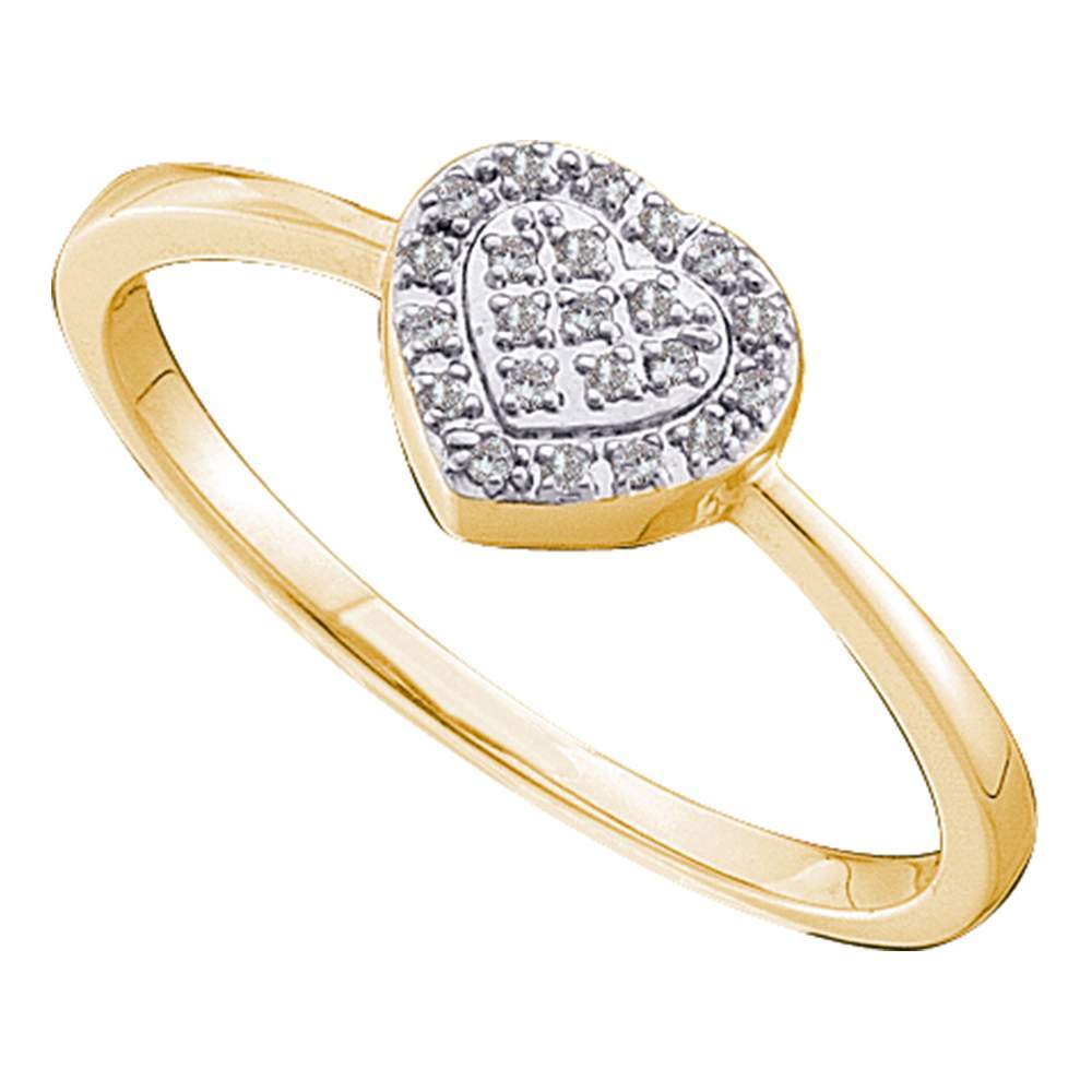 14kt Yellow Gold Womens Round Diamond Slender Delicate Heart Ring 1/12 Cttw