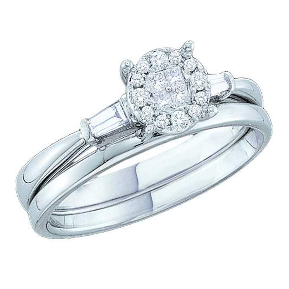 14kt White Gold Womens Princess Diamond Soleil Bridal Wedding Engagement Ring Band Set 1/5 Cttw